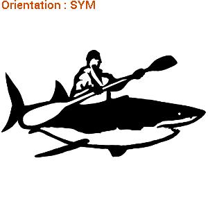 Un sticker de sport : l'autocollant kayakiste sur requin de Zlook.