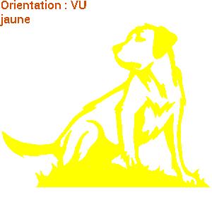Autocollant chien jaune jeu de société en sticker sur zlook.