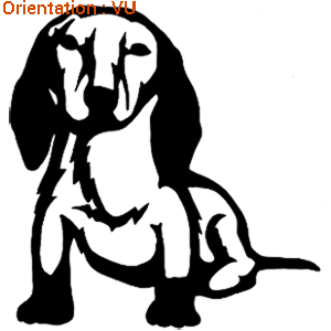 Sticker petit chien : autocollant atomistickers teckel.