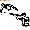 Sticker autocollant chasseur du canard en vol par atomistickers.