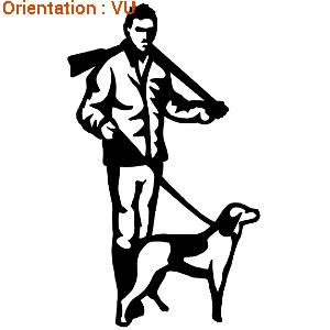 ATOMIStickers chasse au fusil (autocollant chien de chasse en action).
