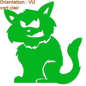 Zlook humouristique avec ce dessin de chat (autocollant vert clair).