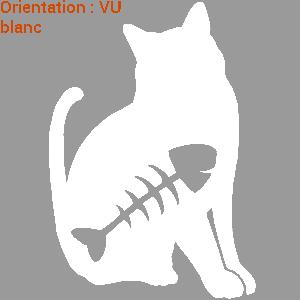 Sticker marrant d'un chat qui a mangé un poisson : atomstickers cats.