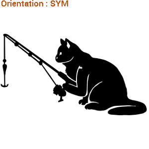 Un autocollant pour un copain pêcheur : ce chat attend le poisson (autocollants vinyle adhésif sur zlook).
