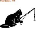 Un sticker d'un chat qui pêche sur atomsitickers.