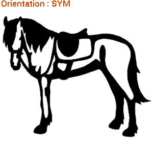 Zlook cheval harnaché qui attend son cavalier (adhésif qualitatif par atomistickers).