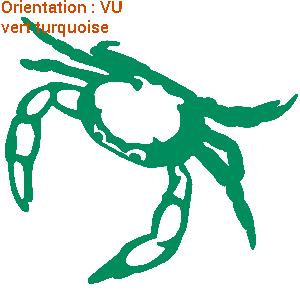 Cet autocollant illustre un crabe qui marche (création zlook).