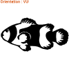 Ce poisson clown autocollant est joli sur un cahier (idée atomsitickers).