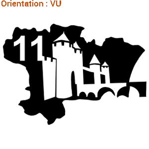Carcassonne est une ville fortifiée visible sur ce sticker.