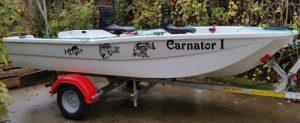 Décoration par sticker d'un bateau pour la pêche (autocollants poissons de rivière) par ZLook.