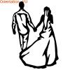 Sur ce sticker mariage, des mariés se promènent de dos zlook stickers.