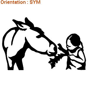 Cet autocollant ânes montre une fillette nourrit un âne avec ATOMIstickers.