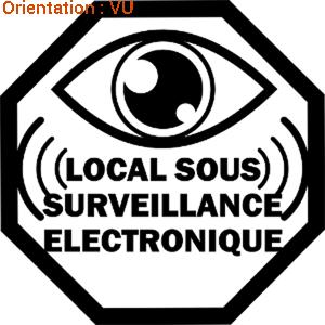 Adhésif pour indiquer que le local est sous surveillance électronique (atomistickers sticker en vinyle adhésif).