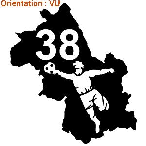 Sticker adhésif voiture atomistickers gardien de handball en démo.