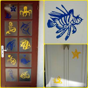 Stickers poissons de mer colorés pour une décoration sur le thème marin par ATOMIstickers.