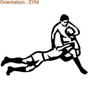 Le plaquage est une figure de rugby : zlook rugbyman en autocollant.