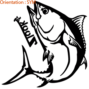 Ce thon sport montre l'adrénaline lors de la pêche en bateau (zlook sticker poisson de mer)