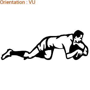 Cet autocollant d'un rugbyman qui marque un essai est en vente sur atomistickers.