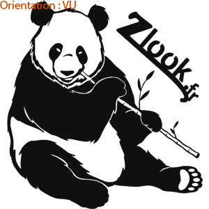 Stickers voiture zlook panda qui mange un bambou autocollants pandas réalistes